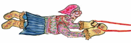 Old Annie a small woman bundled up in a bright knitted sweater, big beaded mitts and muklunks.  Her cats have pulled her flat in the snow as they race.